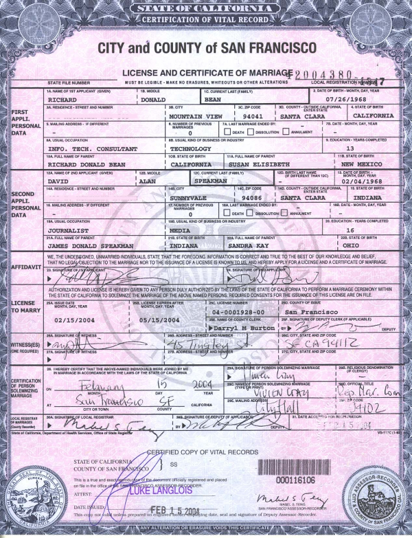 marriage certificate for sale